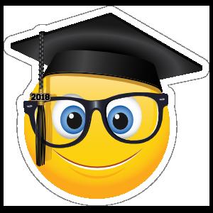 Cute Graduate With Glasses 2018 Emoji Sticker