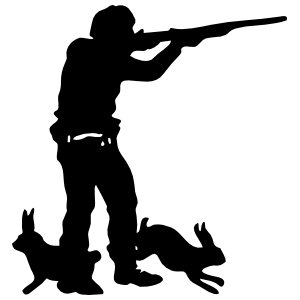 Hunter With Rabbits By His Feet Sticker