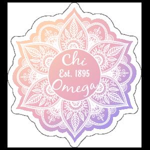 White Chi Omega Mandala Sticker