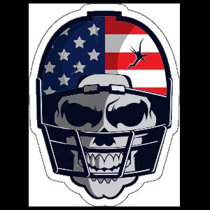Skull in USA Football Helmet Sticker