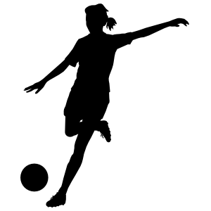 Female Soccer Player Huge Kick Sticker