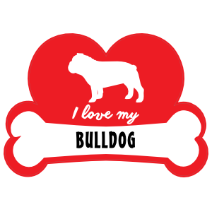 Handwritten I Love My Bulldog With Dog Bone And Heart Sticker