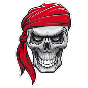 Pirate Mate Skull with Bandana Sticker