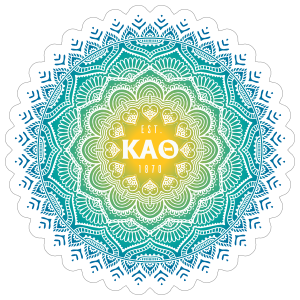 Yellow and Blue Kappa Alpha Theta Mandala Sticker