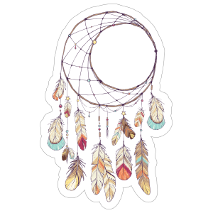 Crescent Moon Dreamcatcher with Feathers Boho Sticker