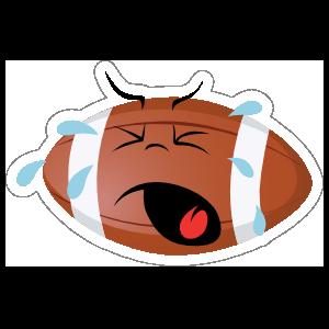 Crying Football Cartoon Sticker