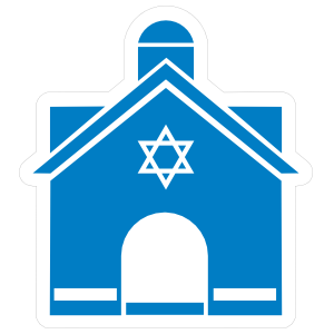 Jewish Temple with Star of David Sticker
