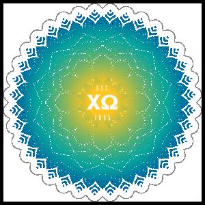 Yellow and blue Chi Omega Mandala Sticker