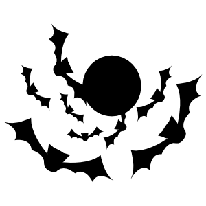 Moon With Seven Flying Bats Sticker