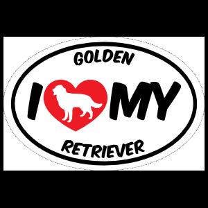 I Love My Golden Retriever With Big Text Oval Sticker
