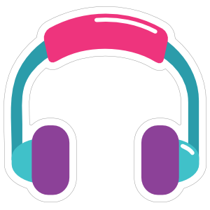 Colorful Headphones Hippie Sticker