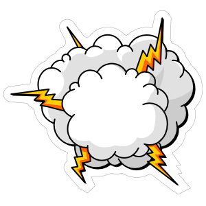 Lightning Cloud Comic Sticker