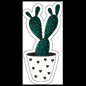 Dark Green Cactus in Heart Pot Sticker