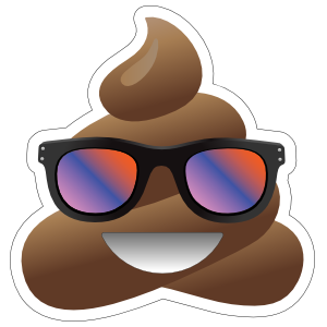 Colorful Sunglasses Poop Emoji Sticker