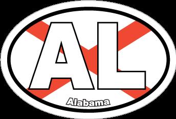 Alabama Al State Flag Oval Sticker