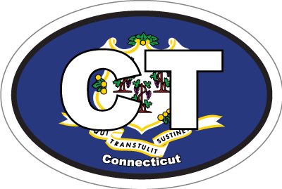 Connecticut Ct State Flag Oval Sticker