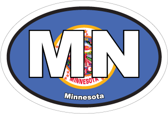 Minnesota Mn State Flag Oval Sticker