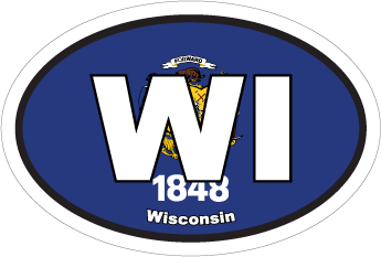 Wisconsin Wi State Flag Oval Sticker