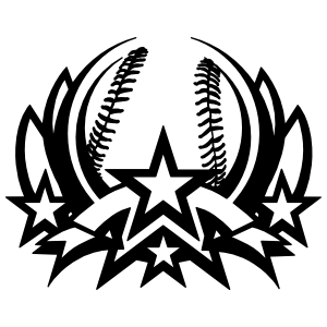 Baseball Softball With Stars Sticker
