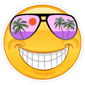 Crazy Cool Purple Sunglasses Smiling Emoji Sticker