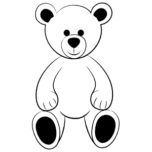 Cute Teddy Bear Outline Sticker