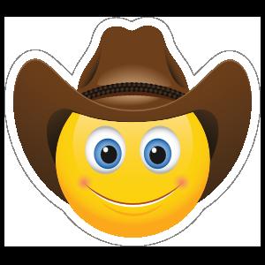 Cute Cowboy with Brown Hat Emoji Sticker