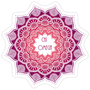 Purple and Red Chi Omega Mandala Sticker