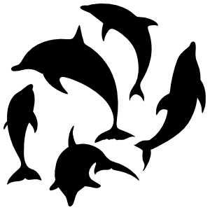 Five Dolphins Swimming Sticker