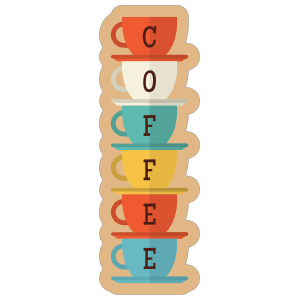 Stacked Coffee Cups Sticker
