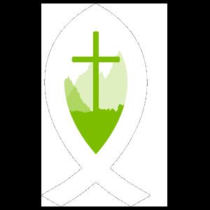 Ichthus with Cross in Grass Sticker