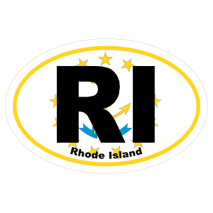 Rhode Island Ri State Flag Oval Sticker