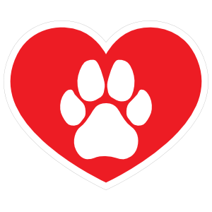 I Love My Dog Heart With Paw Sticker