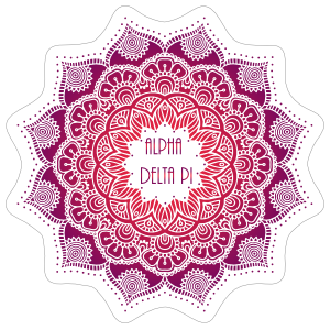 Purple and Red Alpha Delta Pi Mandala Sticker