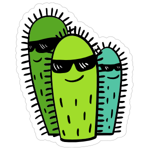 Cool Cactus Cartoon Sticker