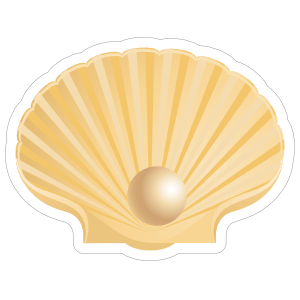 Half Shell and Pearl Sticker