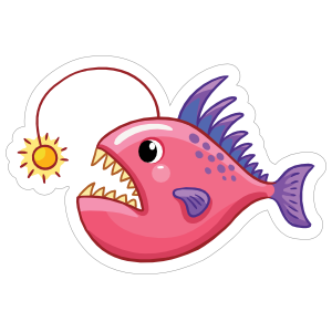 Pink and Purple Anglerfish Sticker