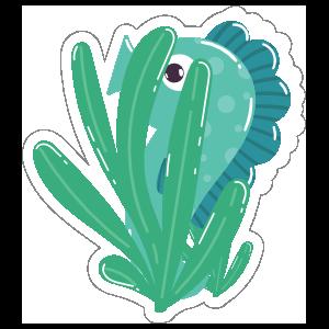 Hiding Blue Seahorse Sticker