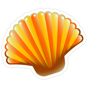 Orange Scallop Seashell Sticker