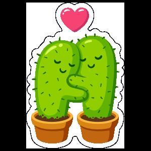 Hugging Cactus Succulent Sticker