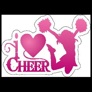 Pink I Love Cheerleading Sticker