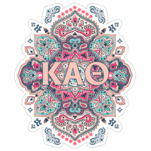 Light Pink and Blue Kappa Alpha Theta Mandala Sticker