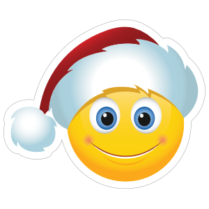 Christmas Emoji.Cute Santa Claus Hat Christmas Emoji Sticker