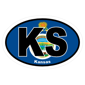 Kansas Ks State Flag Oval Sticker