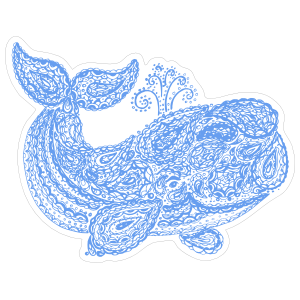 Blue Paisley Whale Boho Sticker