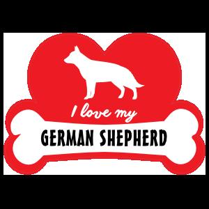 Handwritten I Love My German Shepherd With Dog Bone And Heart S