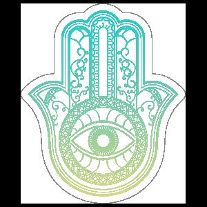 Green Hamsa Boho Sticker