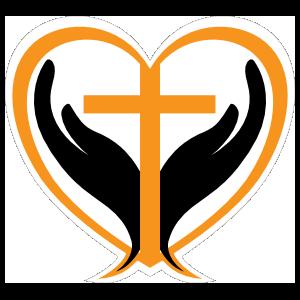 Hands Holding Cross in a Heart Sticker