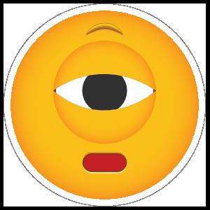 Phone Emoji Sticker Cyclops Not Impressed