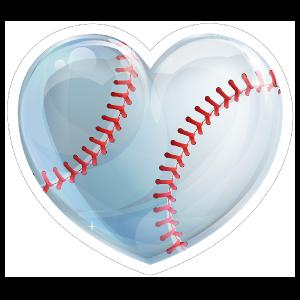 Shiny Heart Baseball Sticker