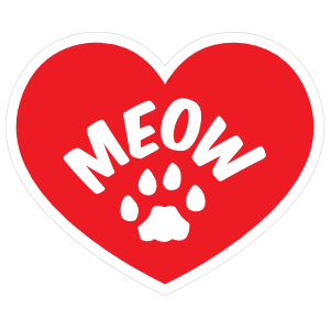 I Love My Cat Heart With Meow And Paw Magnet